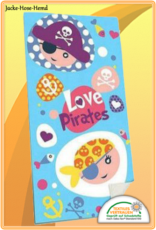 Badetuch Love Piraten Baumwolle 70x140cm